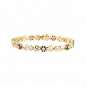 Yellow Gold Diamond and Sapphire Bracelet
